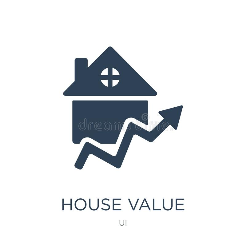 icona di valore della casa nello stile d'avanguardia di progettazione icona di valore della casa isolata su fondo bianco icona di royalty illustrazione gratis