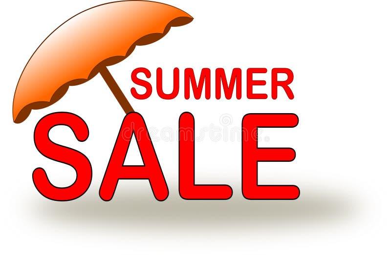 Icona di vendita di estate con l'ombrello di spiaggia arancio illustrazione di stock