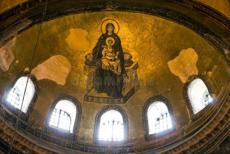 Icona di vergine Maria nell'interno del Hagia Sophia a Costantinopoli, immagini stock libere da diritti