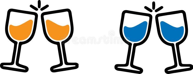 Icona di vetro di Champagne su fondo bianco royalty illustrazione gratis