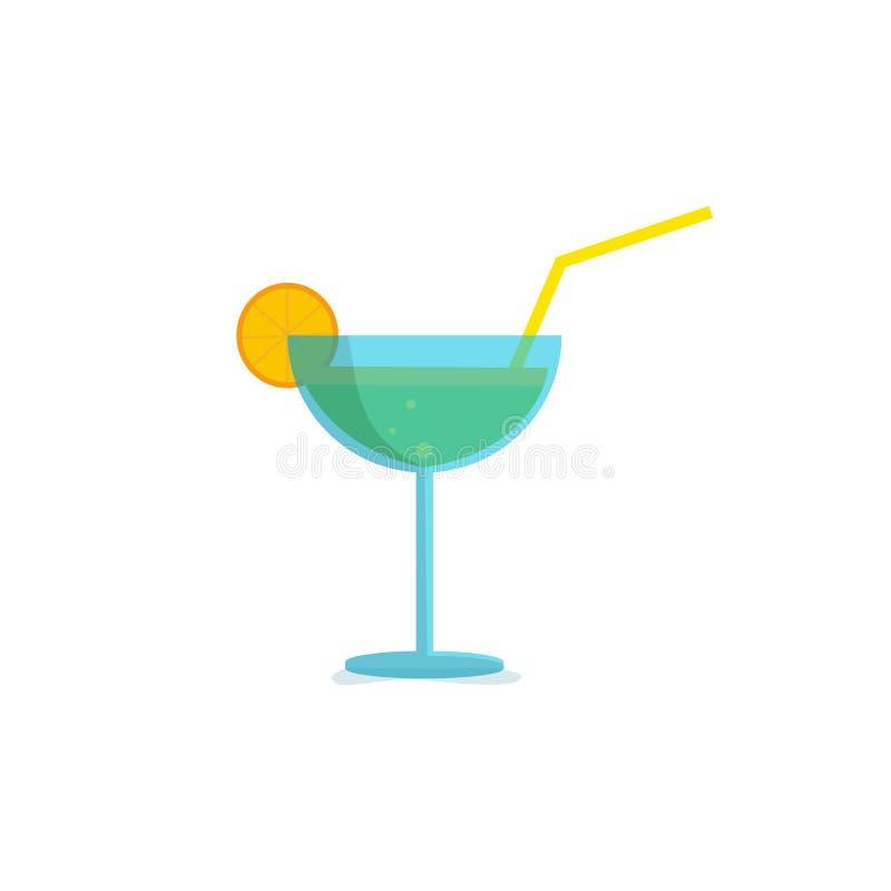 Icona di vetro di cocktail con liquore ed il limone Vettore illustrazione vettoriale