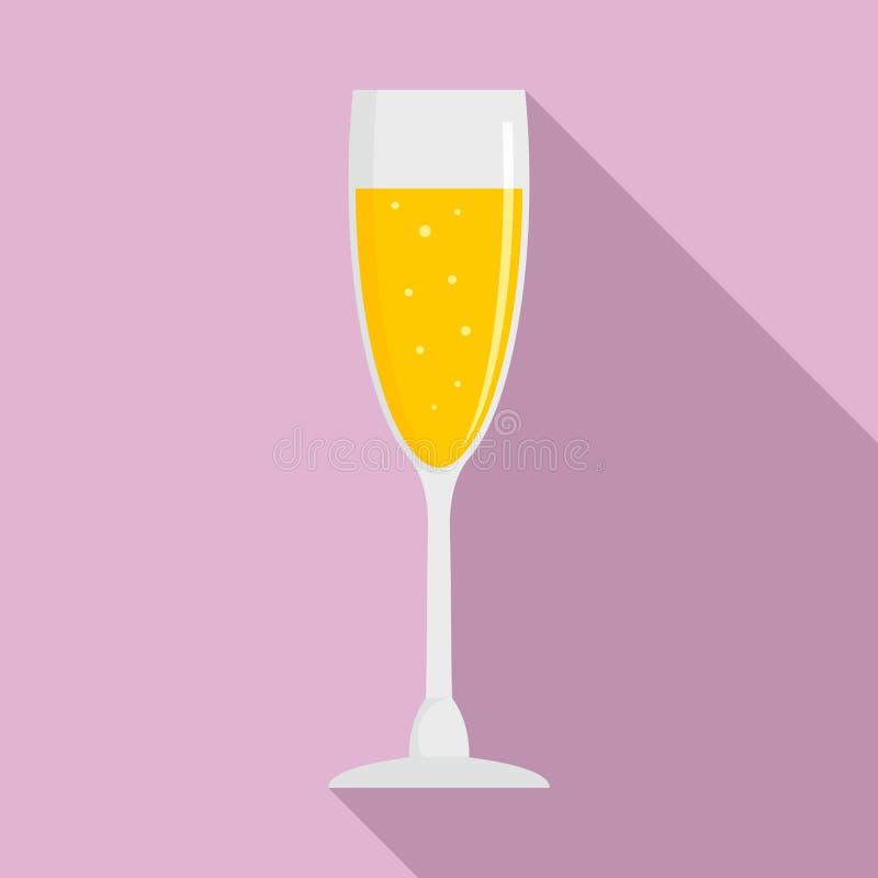 Icona di vetro del champagne pieno, stile piano royalty illustrazione gratis