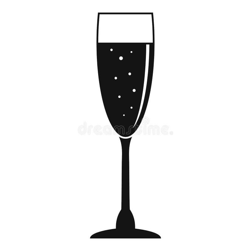 Icona di vetro del champagne pieno, stile semplice illustrazione di stock