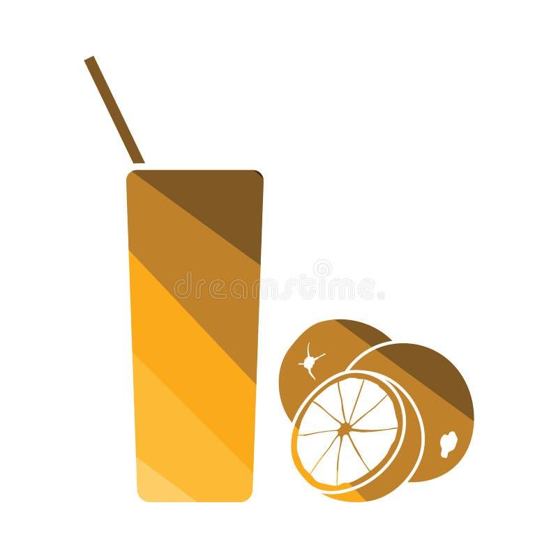 Icona di vetro del succo d'arancia royalty illustrazione gratis