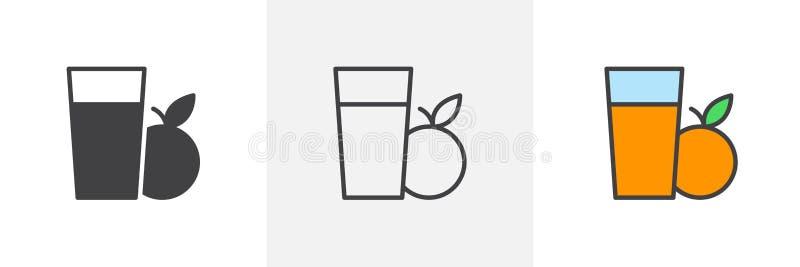 Icona di vetro del succo d'arancia illustrazione vettoriale
