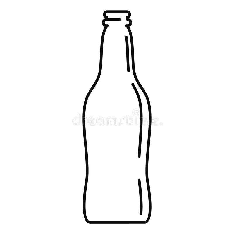 Icona di vetro della bottiglia di birra, stile del profilo illustrazione vettoriale