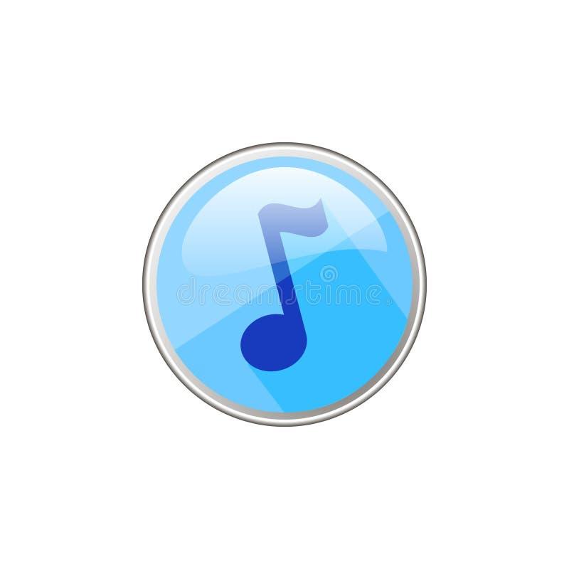 Icona di vetro rotonda di vettore semplice della nota musicale illustrazione di stock