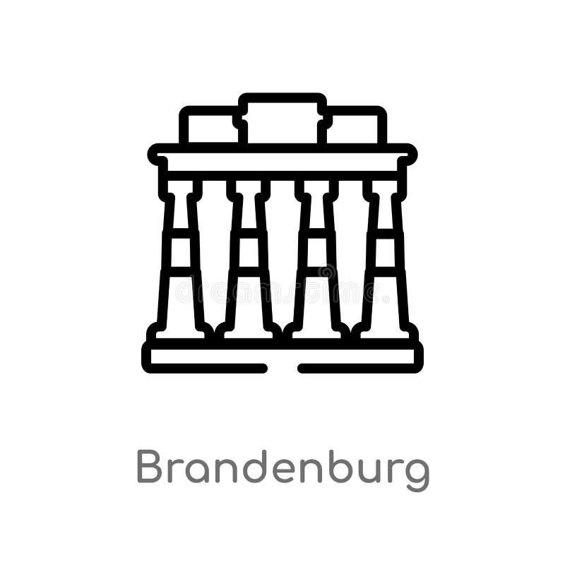 icona di vettore di Brandeburgo del profilo linea semplice nera isolata illustrazione dell'elemento da architettura e dal concett illustrazione di stock