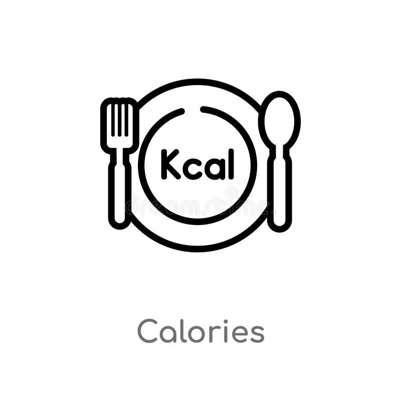 icona di vettore di calorie del profilo linea semplice nera isolata illustrazione dell'elemento dal concetto dell'alimento calori royalty illustrazione gratis