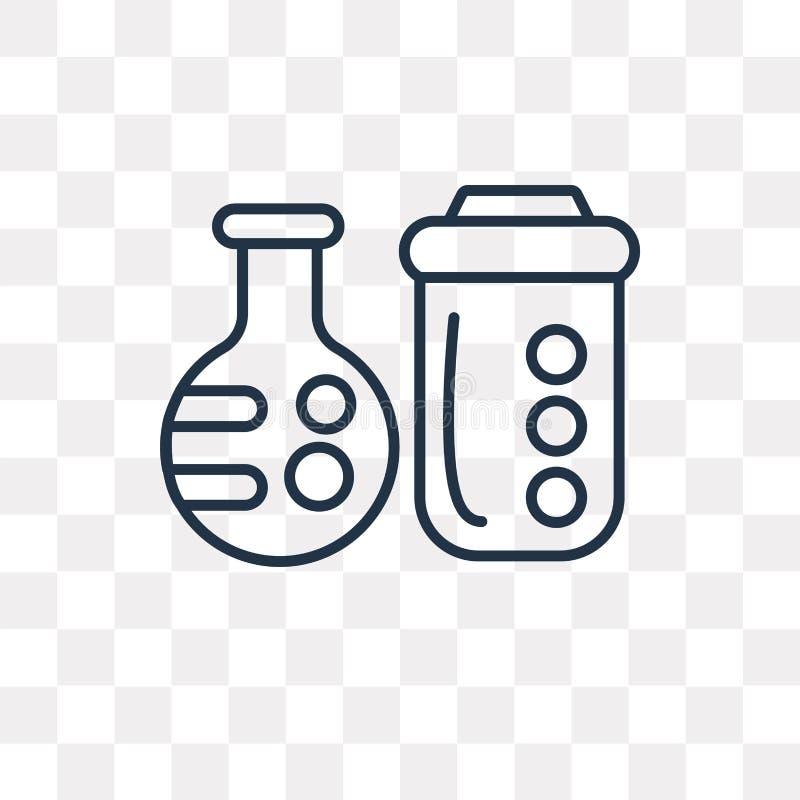 Icona di vettore di chimica isolata su fondo trasparente, lineare illustrazione di stock