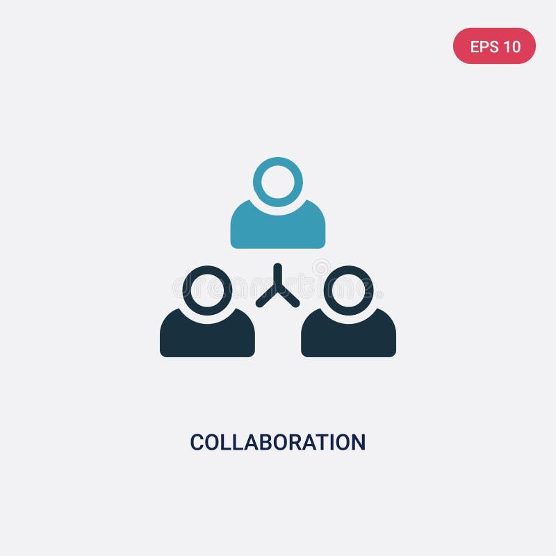Icona di vettore di collaborazione di due colori dal concetto di strategia il simbolo blu isolato del segno di vettore di collabo illustrazione di stock