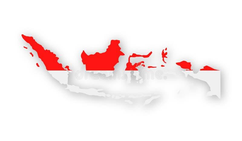 Icona di vettore di contorno del paese della bandiera dell'Indonesia illustrazione di stock