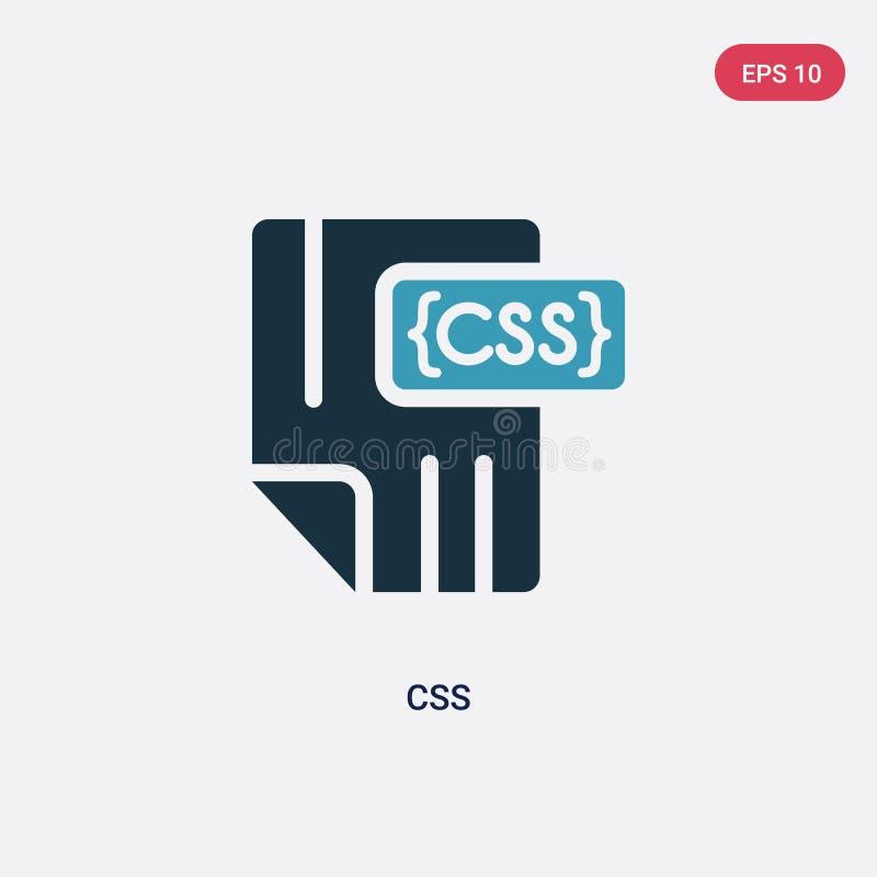 Icona di vettore di css di due colori dal concetto di programmazione il simbolo blu isolato del segno di vettore di css può esser illustrazione vettoriale