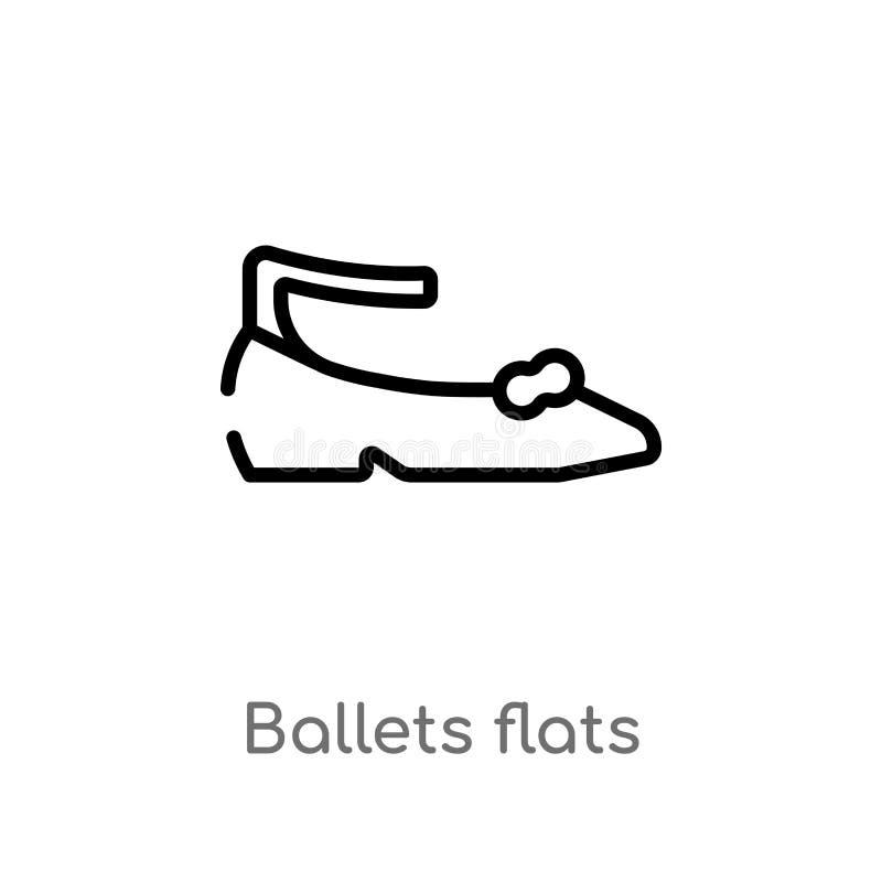icona di vettore degli appartamenti di balletti del profilo linea semplice nera isolata illustrazione dell'elemento dal concetto  royalty illustrazione gratis