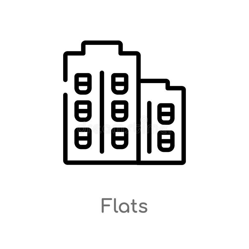 icona di vettore degli appartamenti del profilo linea semplice nera isolata illustrazione dell'elemento dal concetto sociale di m royalty illustrazione gratis