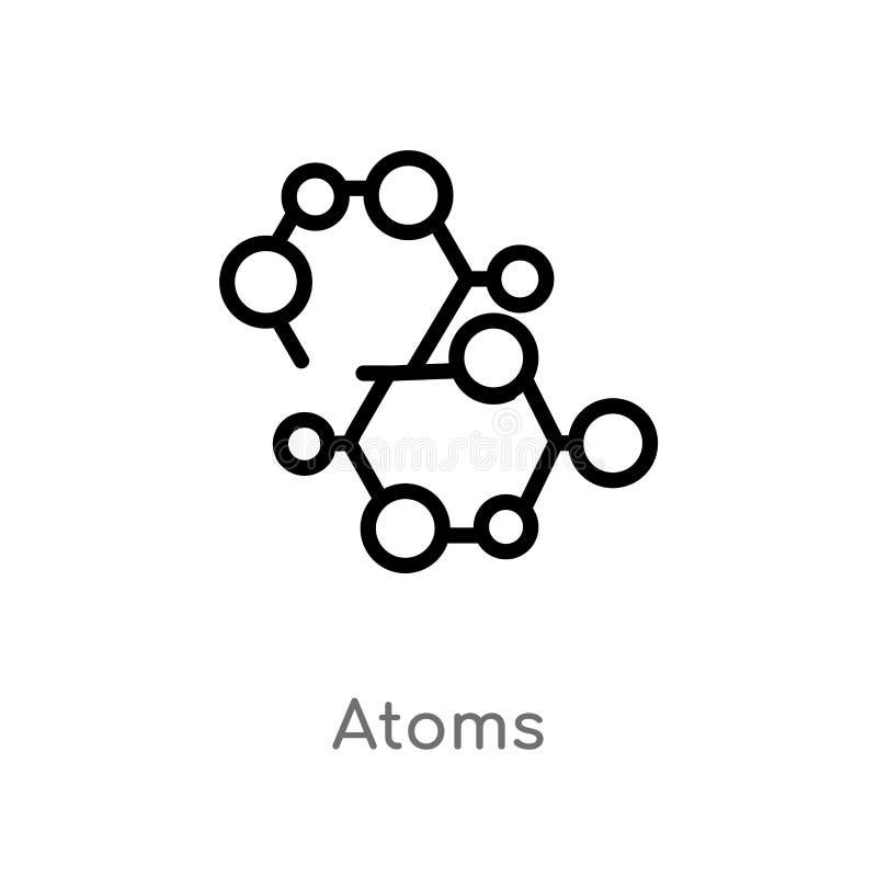 icona di vettore degli atomi del profilo linea semplice nera isolata illustrazione dell'elemento dal concetto di scienza icona ed illustrazione vettoriale