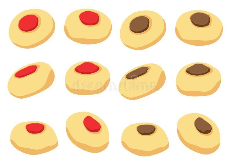 Icona di vettore dei biscotti isolata sul vettore bianco dell'illustrazione del fondo royalty illustrazione gratis