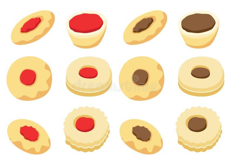 Icona di vettore dei biscotti isolata sul vettore bianco dell'illustrazione del fondo illustrazione di stock