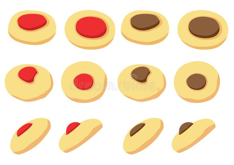 Icona di vettore dei biscotti isolata sull'illustrazione bianca del fondo royalty illustrazione gratis
