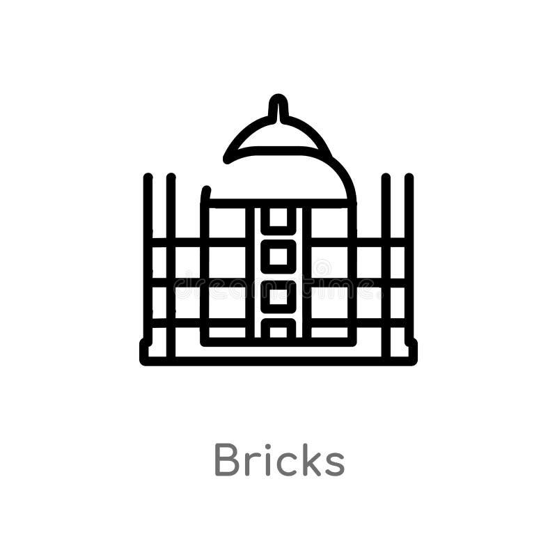 icona di vettore dei mattoni del profilo linea semplice nera isolata illustrazione dell'elemento dal concetto di storia mattoni e illustrazione vettoriale