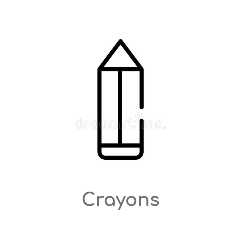 icona di vettore dei pastelli del profilo linea semplice nera isolata illustrazione dell'elemento dal concetto del bambino e del  illustrazione di stock