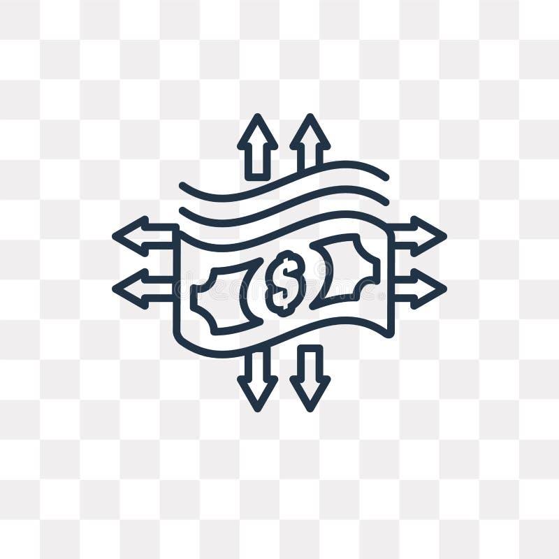 Icona di vettore dei soldi di trasferimento isolata su fondo trasparente, l illustrazione vettoriale