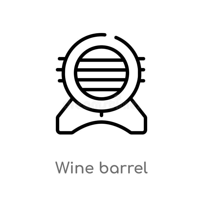 icona di vettore del barilotto di vino del profilo linea semplice nera isolata illustrazione dell'elemento dal concetto dell'alco royalty illustrazione gratis
