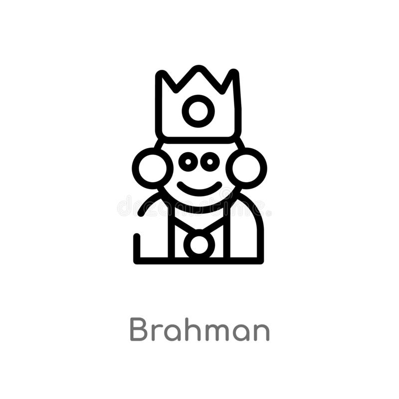 icona di vettore del brahman del profilo linea semplice nera isolata illustrazione dell'elemento dal concetto dell'India brahman  illustrazione di stock