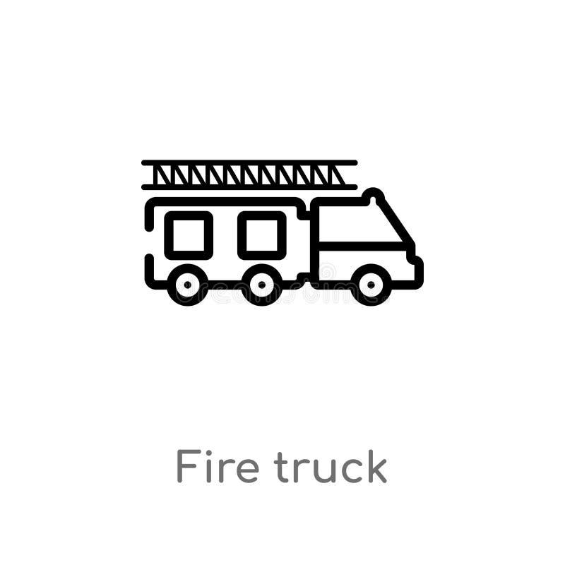 icona di vettore del camion dei vigili del fuoco del profilo linea semplice nera isolata illustrazione dell'elemento dal concetto illustrazione vettoriale