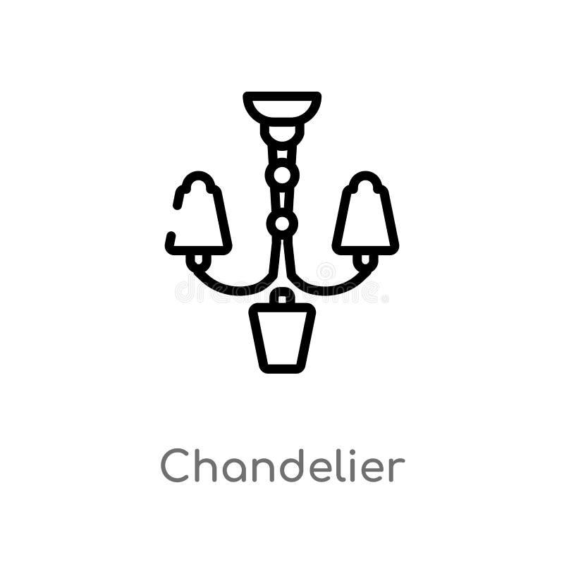 icona di vettore del candeliere del profilo linea semplice nera isolata illustrazione dell'elemento dal concetto della mobilia Co illustrazione di stock