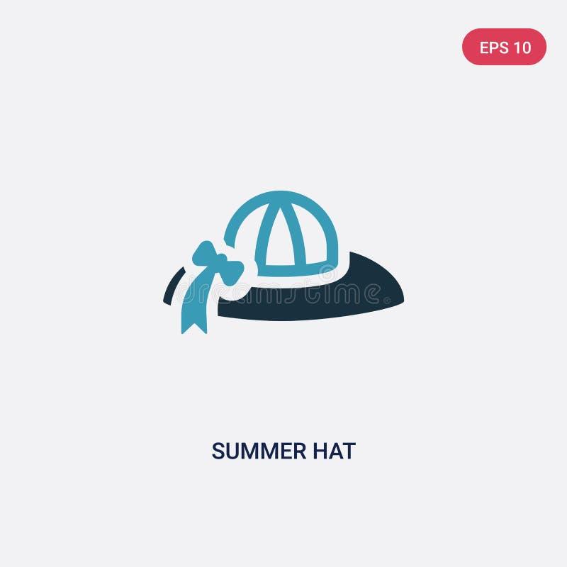 Icona di vettore del cappello di estate di due colori dal concetto di estate il simbolo blu isolato del segno di vettore del capp illustrazione vettoriale