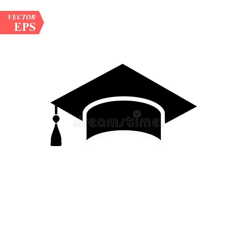 Icona di vettore del cappello di graduazione isolata su fondo bianco illustrazione vettoriale