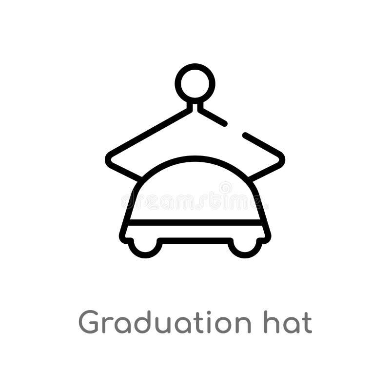 icona di vettore del cappello di graduazione del profilo linea semplice nera isolata illustrazione dell'elemento dal concetto di  royalty illustrazione gratis
