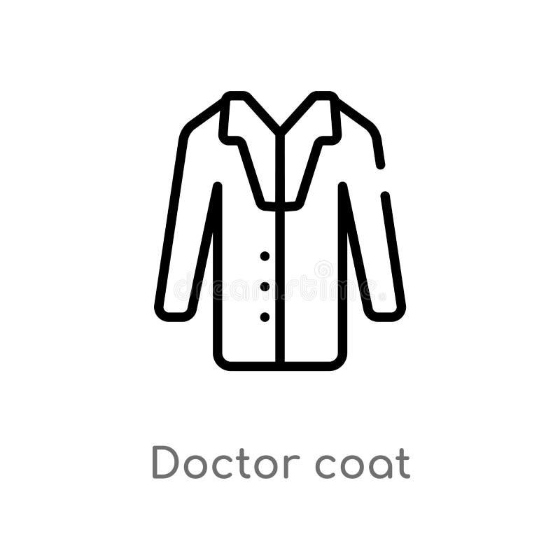icona di vettore del cappotto di medico del profilo linea semplice nera isolata illustrazione dell'elemento dal concetto di natal illustrazione vettoriale
