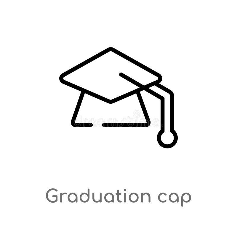 icona di vettore del cappuccio di graduazione del profilo linea semplice nera isolata illustrazione dell'elemento dal concetto di illustrazione vettoriale