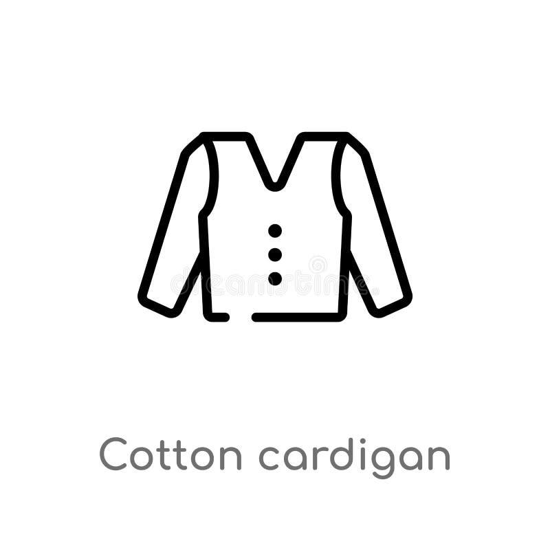 icona di vettore del cardigan del cotone del profilo linea semplice nera isolata illustrazione dell'elemento dal concetto dei ves royalty illustrazione gratis