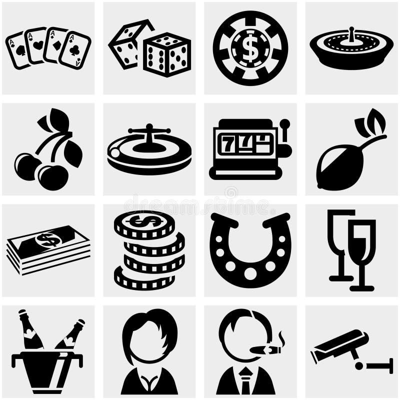 Icona di vettore del casinò messa su gray illustrazione vettoriale