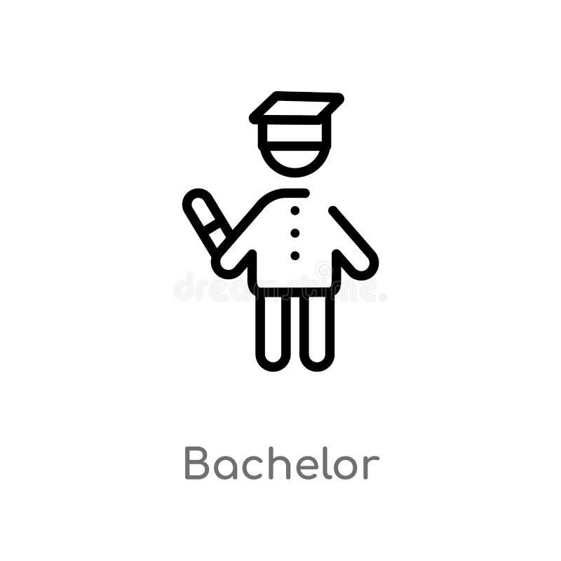 icona di vettore del celibe del profilo linea semplice nera isolata illustrazione dell'elemento dal concetto della gente celibe e illustrazione di stock