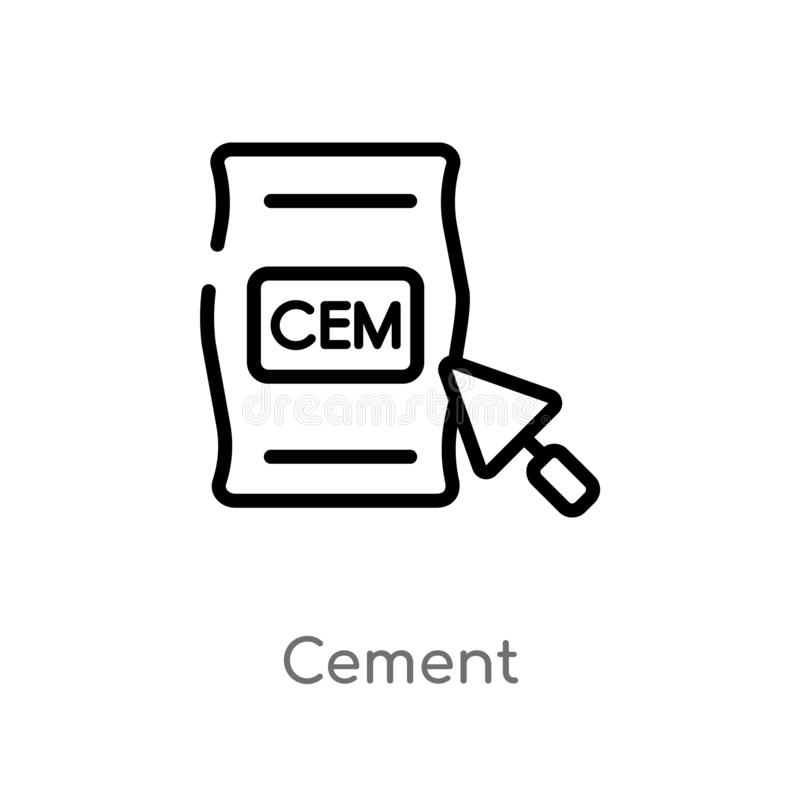 icona di vettore del cemento del profilo linea semplice nera isolata illustrazione dell'elemento dal concetto della costruzione C illustrazione di stock
