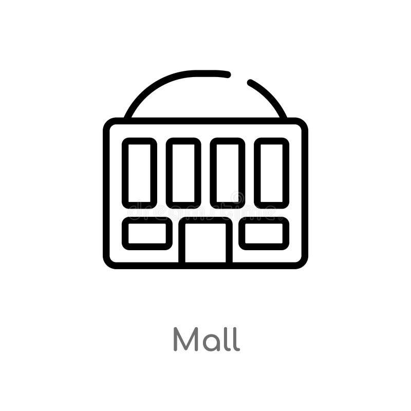 icona di vettore del centro commerciale del profilo linea semplice nera isolata illustrazione dell'elemento da spettacolo e dal c illustrazione vettoriale