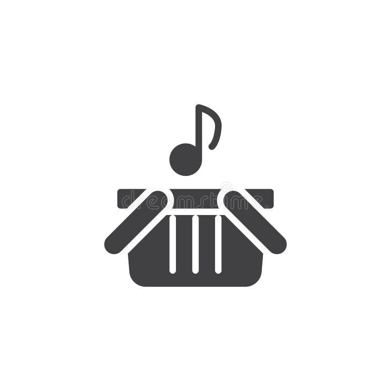 Icona di vettore del cestino della spesa e della nota musicale illustrazione vettoriale
