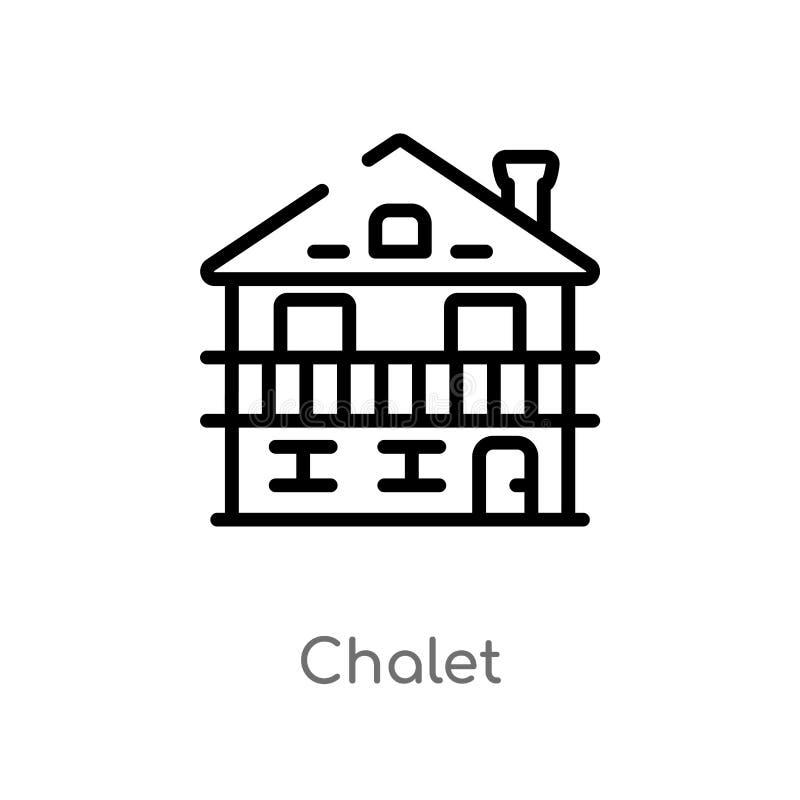 icona di vettore del chalet del profilo linea semplice nera isolata illustrazione dell'elemento dal concetto di inverno chalet ed illustrazione di stock