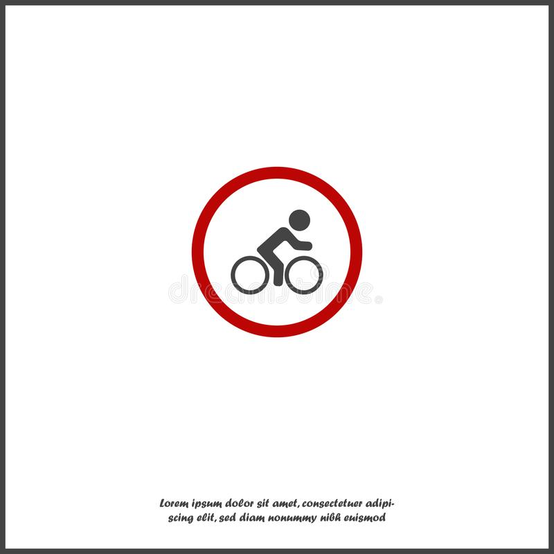 Icona di vettore del ciclista di arresto del segnale stradale nessun ciclista su fondo isolato bianco royalty illustrazione gratis
