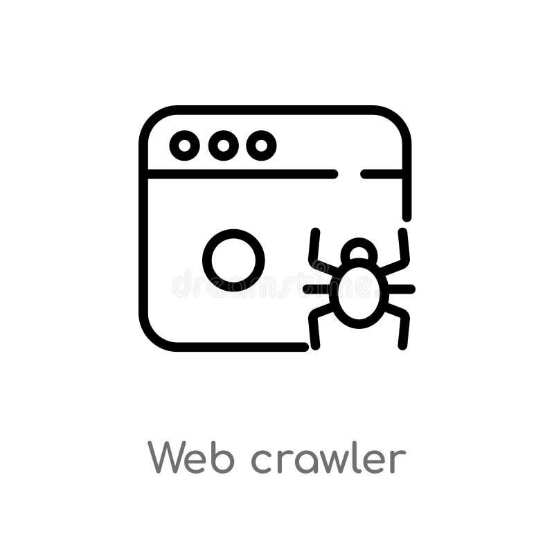 icona di vettore del cingolo di web del profilo linea semplice nera isolata illustrazione dell'elemento dal concetto dell'interfa illustrazione di stock