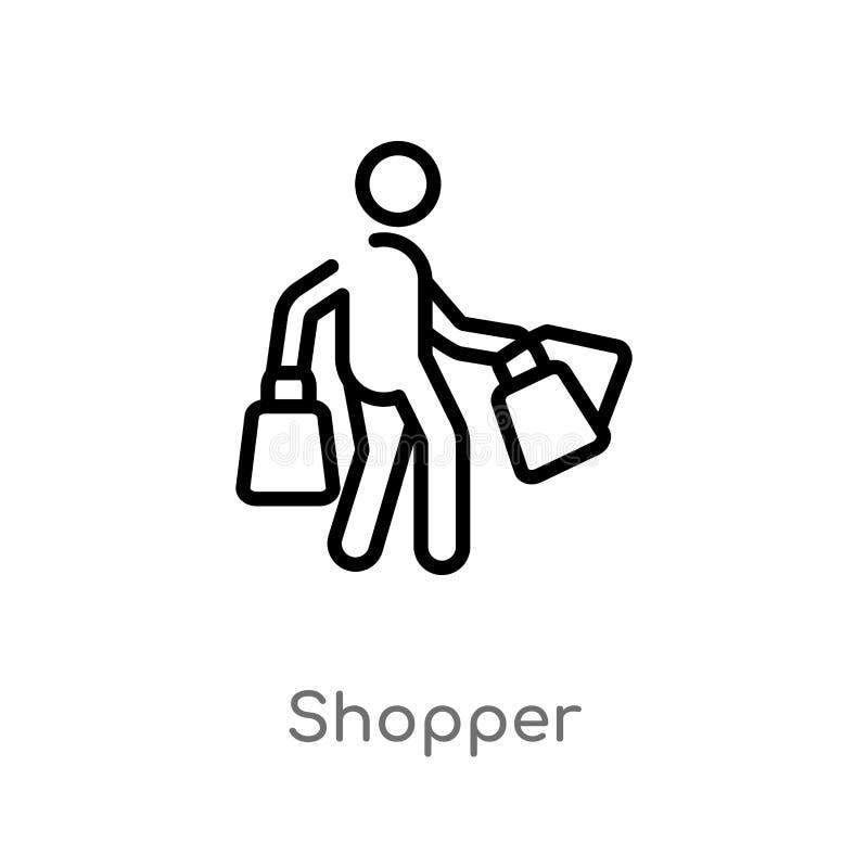 icona di vettore del cliente del profilo linea semplice nera isolata illustrazione dell'elemento dal concetto di commercio client illustrazione di stock