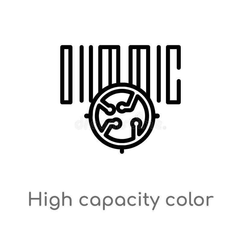 icona di vettore del codice a barre di colore di capacità elevata del profilo linea semplice nera isolata illustrazione dell'elem illustrazione vettoriale