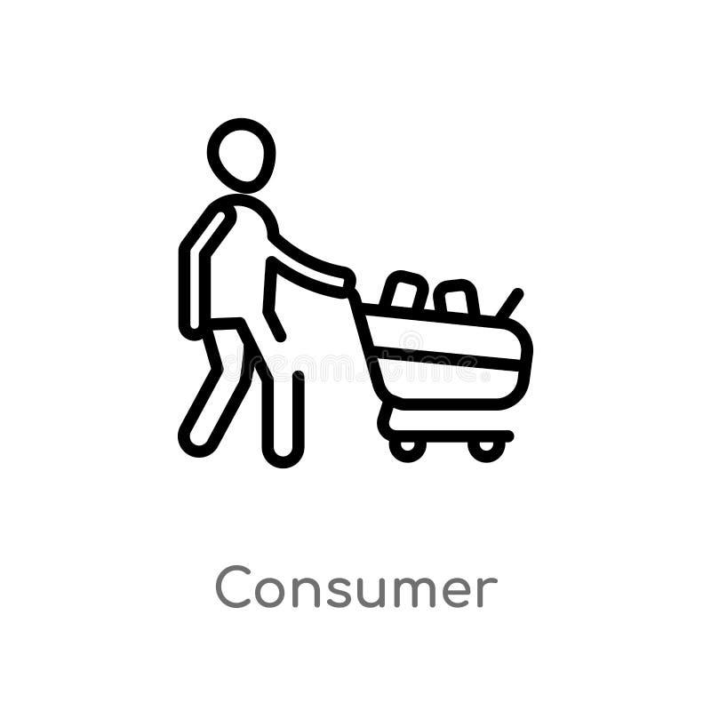 icona di vettore del consumatore del profilo linea semplice nera isolata illustrazione dell'elemento dal concetto commercializzan royalty illustrazione gratis