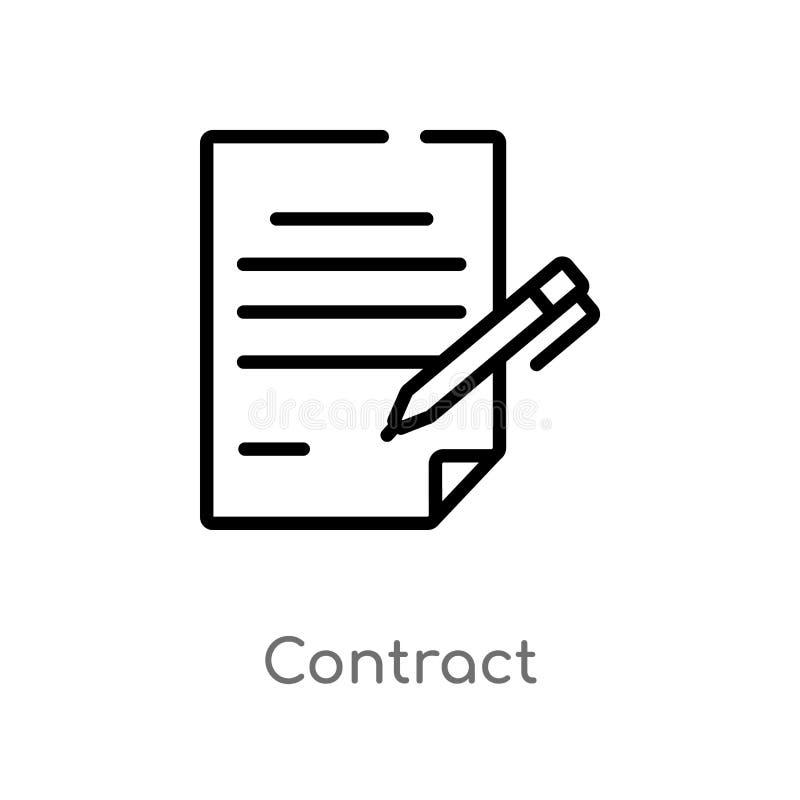 icona di vettore del contratto del profilo linea semplice nera isolata illustrazione dell'elemento dal concetto delle risorse uma illustrazione vettoriale