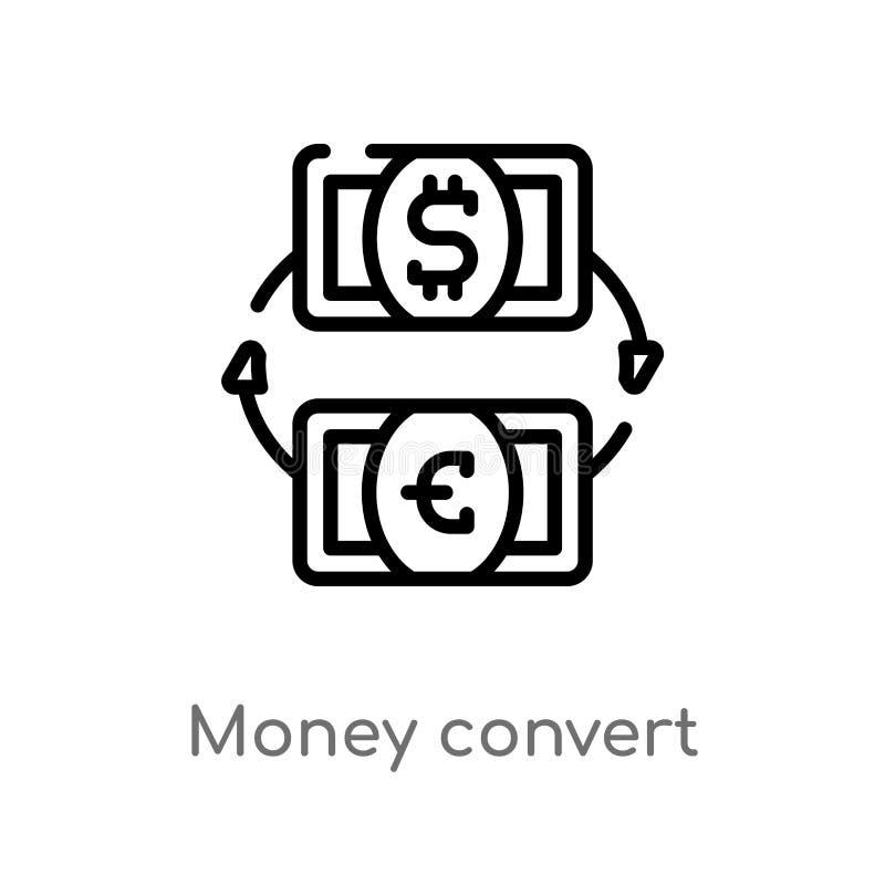icona di vettore del convertito dei soldi del profilo linea semplice nera isolata illustrazione dell'elemento dal concetto di aff royalty illustrazione gratis