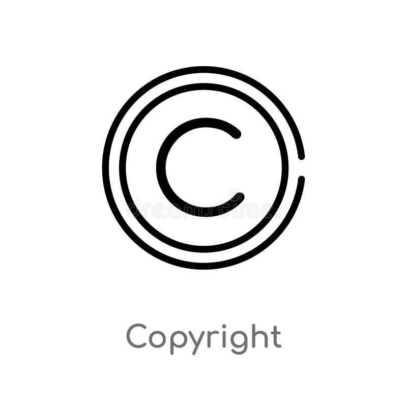 icona di vettore del copyright del profilo linea semplice nera isolata illustrazione dell'elemento dal concetto contento Colpo ed royalty illustrazione gratis